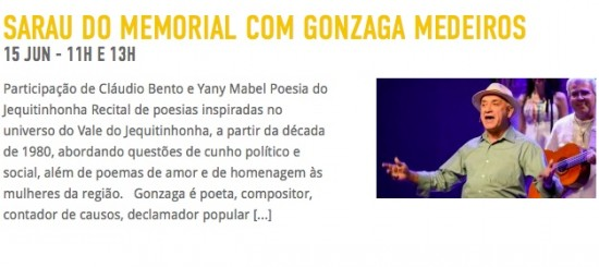 Sarau do Memorial com Gonzaga Medeiros +