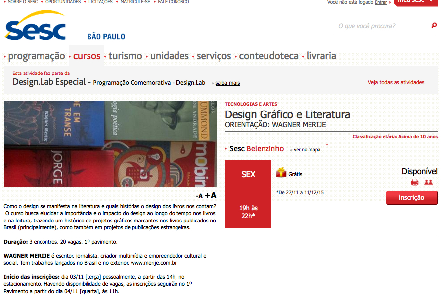 Design grafico e Literatura_Sesc Belenzinho